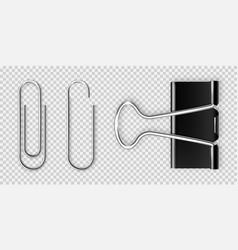 Realistic black paper binder and metal clip vector