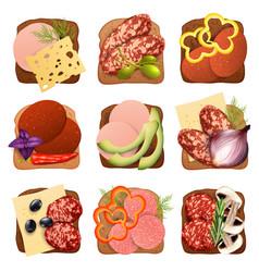 realistic sausage sandwich set vector image