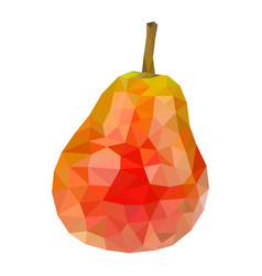 Red pear polygonal 3d vector