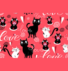 seamless funny pattern loving cats and hearts vector image