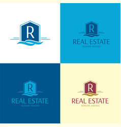 seaside real estate house logo and icon vector image
