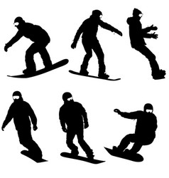Set black silhouettes snowboarders on white vector
