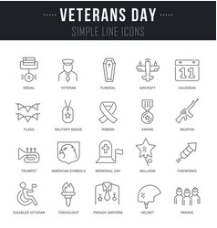 set line icons veterans day vector image