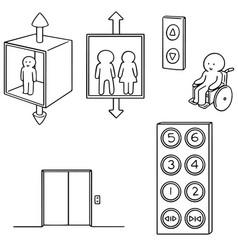set of elevator vector image