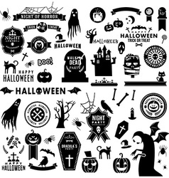Set of Happy Halloween black silhouettes vector