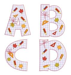 Sheet alphabet Letter A B C D vector