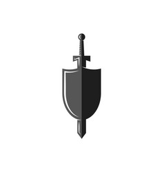 Shield and sword logo weapon of the medieval vector
