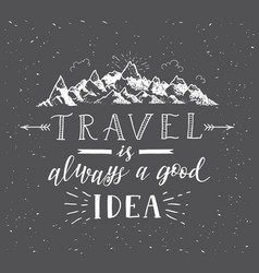 sketch mountain hand drawn travel vector image