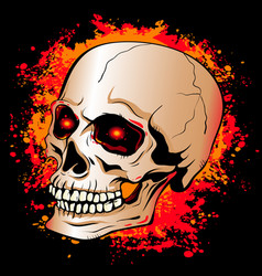Skull with glowing red eyes on a background of vector