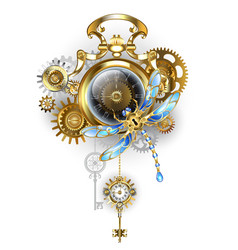 Steampunk clock with mechanical dragonfly vector
