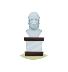 Stone bust of old bearded man exhibit of vector
