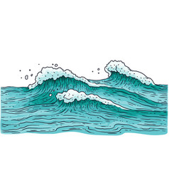 stormy sea water with small waves - ocean nature vector image