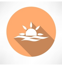 Sunset in the sea icon vector
