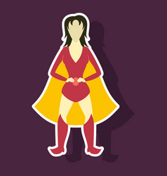 Superhero womanfemale cartoon character icon in vector