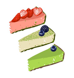 Three pieces cheesecake with strawberry vector