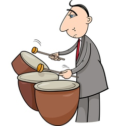 Timpani musician cartoon vector