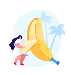 tiny female character remove peel from huge banana vector image