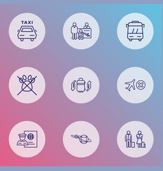 traveling icons line style set with baggage vector image