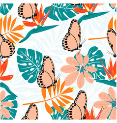 tropical pattern with butterflies vector image
