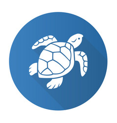 turtle blue flat design long shadow glyph icon vector image