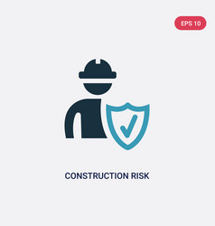 Two color construction risk icon from insurance vector