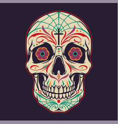 vintage mexican sugar skull colorful template vector image