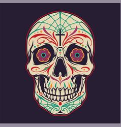 Vintage mexican sugar skull colorful template vector