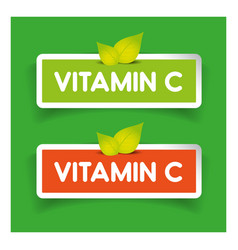 Vitamin C label set vector image