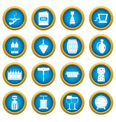 wine icons blue circle set vector image