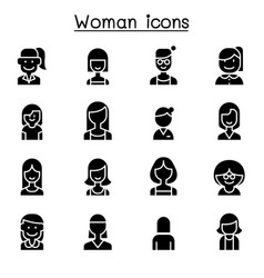 woman girl lady female mom icon set vector image