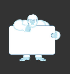 yeti holding banner blank bigfoot and white blank vector image