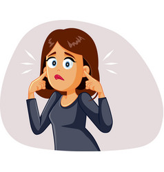 Young woman covering up his ears hearing a vector