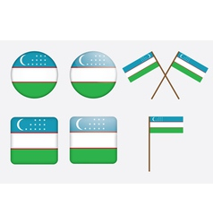 badges with flag of Uzbekistan vector image vector image