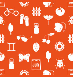 june month theme set of simple icons seamless vector image vector image