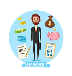 manager man with office business items vector image