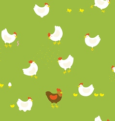 Chicken farm pattern with hens chickens and cock vector