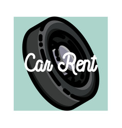 color vintage car rent emblem vector image