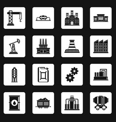 Industry icons set squares vector