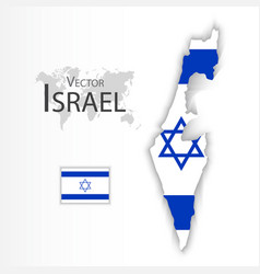 israel flag and map vector image vector image
