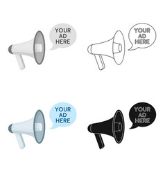 megaphone advertising icon in cartoon style vector image