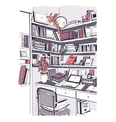 Modern interior home library bookshelves vector