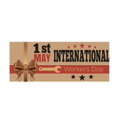 1 may international workers day retro style card vector