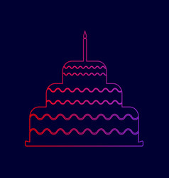 cake with candle sign line icon with vector image