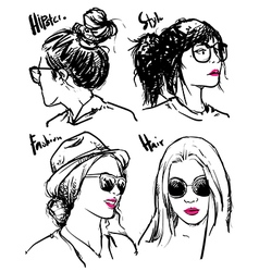Hand drawn fashion girls hipster outline vector