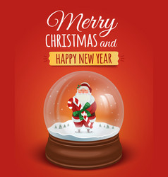 Christmas greeting card poster with snow globe vector image vector image