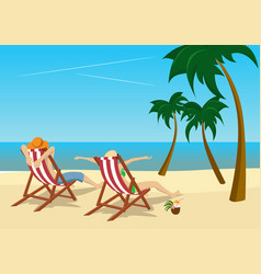 couple sitting in deck chairs on tropical beach vector image vector image