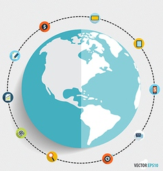 Modern globe with application icons business vector