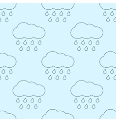 Outline rainy clouds seamless pattern vector image vector image