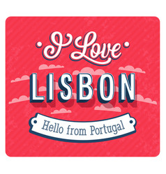 vintage greeting card from lisbon vector image