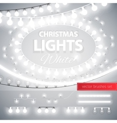 White Christmas Lights Decoration Set vector image vector image